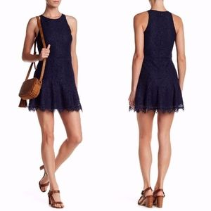 NEW JOIE Navy ADISA Corded LACE Scalloped DRESS 2